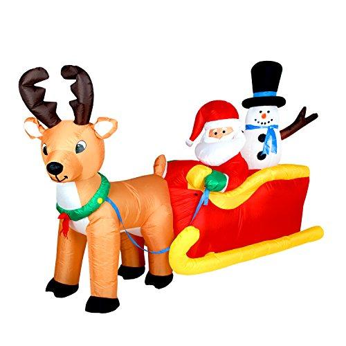 Pridea 200cm Weihnachtsmann und Schneemann auf Schlitten mit Rentier selbstaufblasende Weihnachtsdeko Airblown