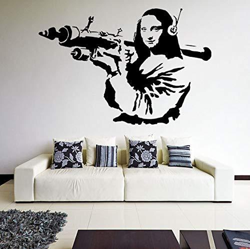 YIYEBAOFU Spiegelrahmen Wand Stickersbanksy Vinyl Wandtattoo Mona Lisa Raketenwerfer, Davinci Art Graffiti Sticker Z21884x57cm