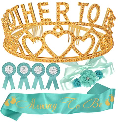 Mother To Be Tiara Hearts Crown Green/Mint + Maternity Flower Belly Belt + Mom to Be Sash and Pin + Dad To Be Pin + Grandma To Be Pin, Gender Reveal Baby Shower party supplies, Baby To Be Party Decora