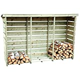 Charles Bentley Nordic Spruce Wooden 3 Log Store Firewood Storage - Slatted Design Raised Floor Slanted Roof