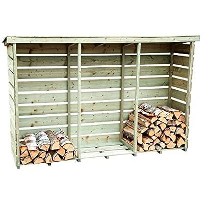 Charles Bentley Nordic Spruce Wooden 3 Log Store Firewood Storage - Slatted Design Raised Floor Slanted Roof