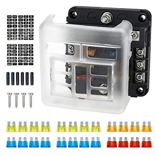 Caja de Fusibles 6 Vías, Bloque Fusibles 12V con Indicador LED, Ancable 6 Circuitos de Caja Fusibles con Autobús Negativo para Automóvil Barco SUV Furgoneta