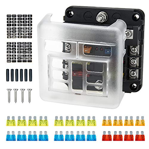 6-Wege-Sicherungskasten 12 V/24 V Flachsicherungsblockhalter mit LED-Anzeige, Ancable 6 Schaltkreise, Sicherungskastenhalter mit W/negativem Bus für 12 V Boot Auto LKW Marine SUV Wohnmobil Van