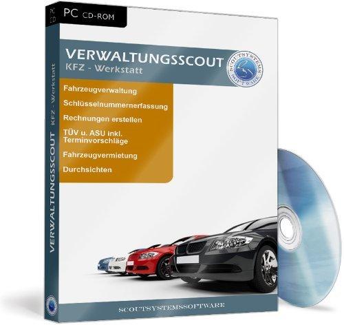 Der Verwaltungsscout Kfz Werkstatt, CD-ROM Verwaltung von Kontakten, Dokumenten, Rechnungen, Lieferscheinen, Quittungen, Angeboten, Personal und KFZ-Daten. Komplette Verwaltung für jedermann. Für Windows 98/Me/2000/XP/Linux