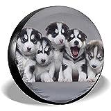 ETGeed Siberian Husky Dog Samoyed Alaskan Hunderadabdeckung Polyester Fahrzeugzubehör