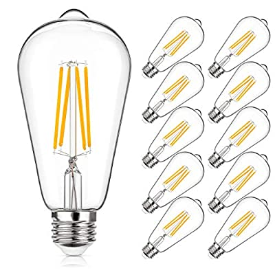 Vintage LED Light Bulbs 60W Equivalent, E26 Edison Light Bulb 6W 2700K Warm White, ST64 Light Bulb 700 Lumens, Clear Glass, Non-Dimmable(Pack of 10)
