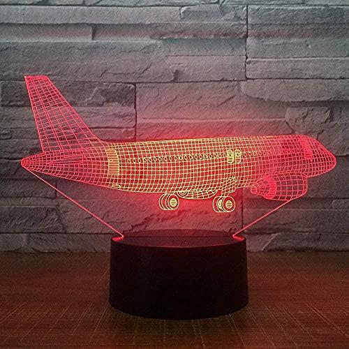 Lonfencr Lámpara de mesa 3D para niños, gran avión, regalo de cumpleaños, 16 colores, decoración navideña, cambio de carga USB con mando a distancia