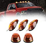 5pcs Cab Roof Marker Lights, Roof Top Lamp Running Light Replacement for 1999-2002 Dodge Ram 1500 2500 3500 4500, and other Truck ,SUV (Amber Lens With Amber LED)