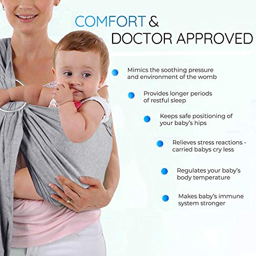 Baby Wrap Carrier and Ring Sling, Adjustable Mesh Baby Wrap for Infant, Stretchy Infant Sling for Infant, Newborn, Kids and Toddlers