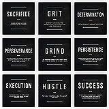 9x Motivational Wall Art Office Decor Canvas Prints Entrepreneur Bundle Set 9 Piece Inspirational Definition Verb Noun Modern Art (9x - 8' x 8')