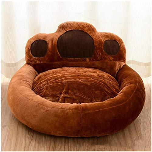 LZC Plush Donut Pet Bed, Cat And Dog Bed Paw Print Design Improved Sleep Soft And Comfortable Dog Bed Warm And Safe Pet Car Seat Cushion (Color : Brown, Size : 55cm/21.7in)