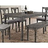 Best Master Furniture Grey Wood and Veneer Distressed Dining Table