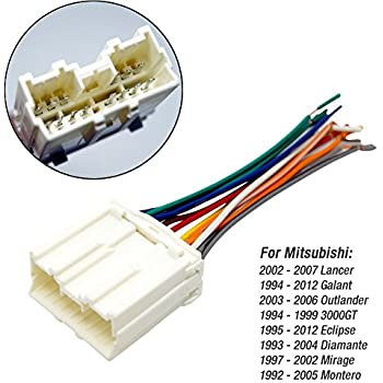 amazon.com: feeldo car radio stereo wiring harness adapter for mitsubishi  lancer/galant/outlander/3000gt/diamante/mirage/montero/endeavor: automotive  amazon.com