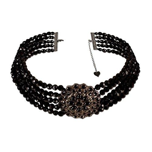 Alpenflüstern Trachten-Collier Perlenblüte - Trachtenkette Perlen Damen-Trachtenschmuck Dirndlkette schwarz DHK112