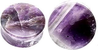 soscene Purple Amethyst Organic Stone Ear Plugs Gauges
