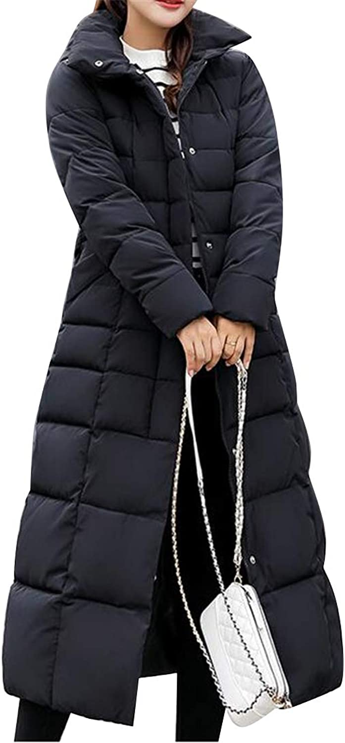 JYZJ Womens Long Faux Fur Collar Winter Hooded Down Quilted Jacket Coat Parka
