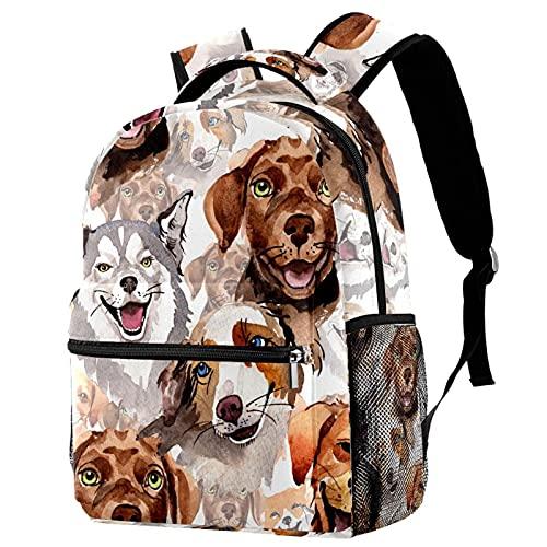 Freizeit Daypacks Campus Reise Rucksäcke Malen Hunde Taschen mit Flaschenhalter für Mädchen Jungen