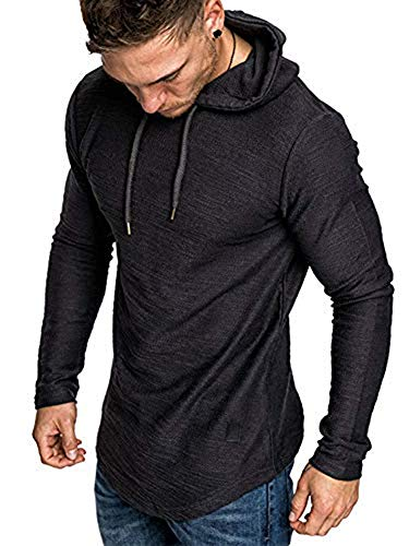 Adogirl Mens Athletic Hoodies Solid Color Sweater Long Sleeve Pullover Blouse Black