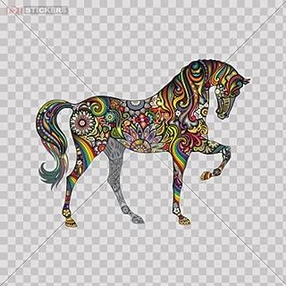 Sticker Vinyl Decals Colorful Elephant Horse Car Window Wall Art Decor Doors Helmet Truck Motorcycle Note Book Mobile Laptop Size: 4 X 3.1 Inches Vinyl color print