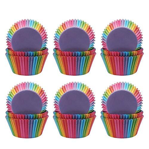 Bornfeel Caissettes Cupcakes Papier Arc En Ciel 600 Pièces pour Soirée de Mariage Cuisine Baking Dessert bricolage Anniversaire