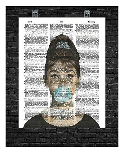 Audrey Hepburn Bubble Gum Wall Decor Audrey Hepburn Print Audrey Hepburn Dictionary Art 8 x 10