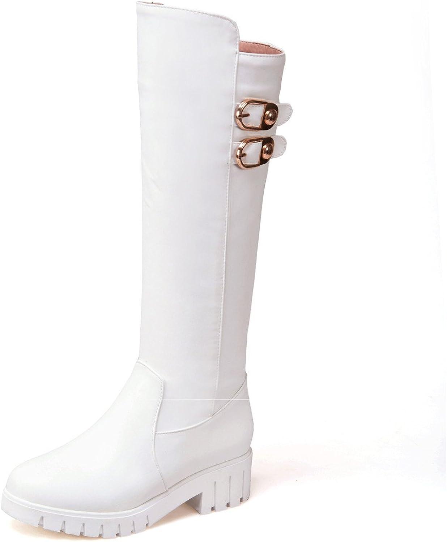 DecoStain Women's Buckle Platforms Knee High Boots