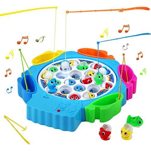 Nuheby Angelspiel Fisch Kinderspielzeug Brettspiel mit 21 Fische Musik Spielzeug Angelspielzeug Pädagogisches Spielzeug Für Geschenke 3 4 5 Jahre Mädchen Junge
