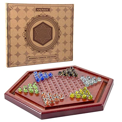 AMEROUS 13.6 inches Wooden Chinese Checkers Board Game Set with 60 Colorful Glass Marbles, Classic Strategy Game for Kids, Adults, Whole Family Play ( Up to Six Players )