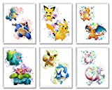 Pokemon Posters Wall Décor – Unframed Set of 6 Prints 8x10 Inch, Watercolor Anime for Kids Room Decoration Pichu Pikachu Charmander Charizard Squirtle Blastoise Bulbasaur Venusaur Eevee Mew Mewtwo