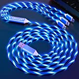 Shining Blue Light up Led Flowing Candy Party Festival Gift 3 in 1 Multi USB 3.3Ft Charger Cable for iOS Phone, Huawei, HTC, LG, Samsung Galaxy, Sony Xperia, Android Type C Devices and More