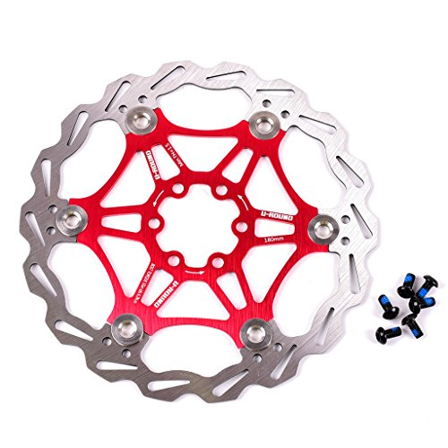 180mm Floating Disc Brake Rotor with 6 Bolts Stainless Steel Bicycle Rotors Fit for Road Bike, Mountain Bike, MTB, BMX (Stainless Steel, 1pcs)