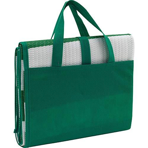 2er Set maritime Strandmatte in Grün zum zusammenfalten und klappen mit aufblasbarem Kissen, als Tasche zusammenfaltbar, 180 x 86,5 cm von notrash2003