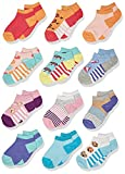 Spotted Zebra Girls' Kids Cotton Ankle Socks, 12-Pack Crazy Fun, X-Small