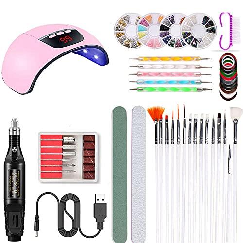 LFYOU Kit de inicio de luz de uñas Kit de arte de uñas Nail Art Manicura Herramientas portátil Set con uñas principiantes señoras