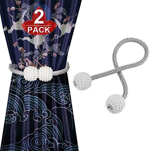Mr.Twinklelight 2 Stück Magnetische Vorhang Raffhalter, Perle Kugel-Style Vorhang Binder, Gardinenhalter, Magnetisch Zurückbinden(Grau)