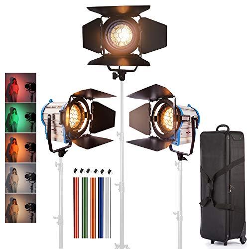 Hwamart 3 × 1000W Iluminación de Fresnel de tungsteno Bombilla Foco Vídeo + + Barndoor Volar la Caja + Bolsa