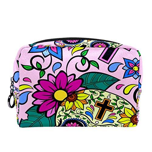 Cosmetic Bag Womens Makeup Bag for Travel to Carry Cosmetics,Change,Keys etc Yellow Sugar Skulls and Cross