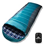 Forceatt Sleeping Bag for Adults and Teens in 3 Seasons and Cold Weather(26℉ to 59℉) 丨 Great for Camping, Backpacking and Hiking 丨 Water-Resistant, Lightweight and Warm 丨Flannel and Sprayed Cotton