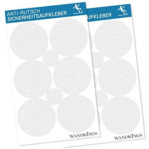 Wandkings Anti-Rutsch-Sticker 12 Klebepunkte 10 cm und 4 Punkte, 5 cm Durchmesser für Sicherheit in Badewanne und Dusche
