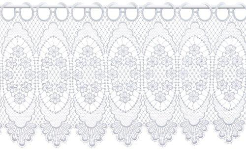 Plauener Spitze by Modespitze, Store Bistro Gardine Scheibengardine mit Stangendurchzug, hochwertige Stickerei, Höhe 30 cm, Breite 96 cm, Weiß