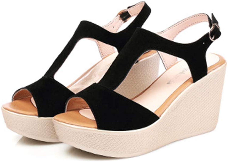 T-JULY Women Sandals Wedge shoes Ladies Platform High Heels Summer Buckle Ankle Strap Peep-Toe Casual shoes