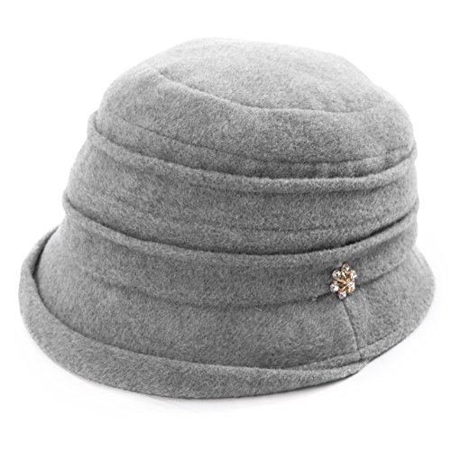 Womens Cloche Hats Ladies Wool Hat Winter 1920s Vintage Derby Church Bowler Bucket Hat Packable Grey