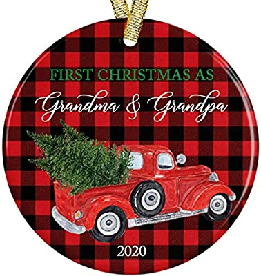 """Buffalo Red Black Plaid Our First Christmas as Grandma and Grandpa Red Pickup Truck 2020 Modern Farmhouse Ceramic Round Ornament, 3"""" Flat Circle with Metallic Gold Ribbon + Free Gift Box"""