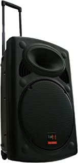 """E-Lektron 15"""" inch Mobile PA Sound System Portable Battery MP3 USB SD Including 2 X Wireless Microphones 900W Sound System with Recording Function"""