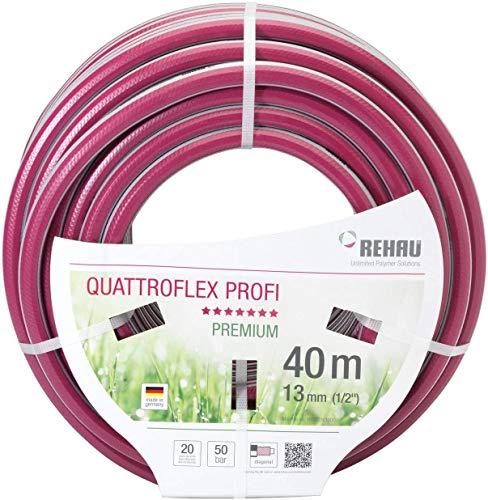 REHAU Premium-Gartenschlauch QUATTROFLEX Profi 1/2 Zoll 40m: für professionelle Anwendungen, kein abknicken, kein verdrehen, extrem druckfest