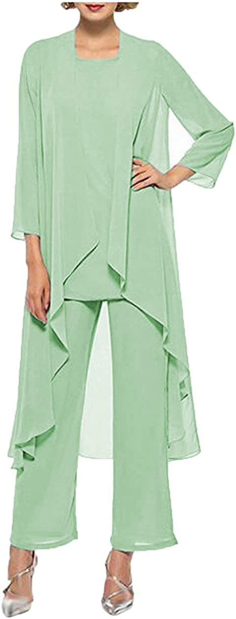 PearlBridal Women's Chiffon Mother of The Bride 3 Piece Outfits Pant Suits Jacket Long Dress
