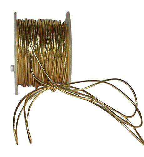 Ribbon Bazaar Elastic Cord 1/16 inch (2 mm) Gold 50 Yards Cording
