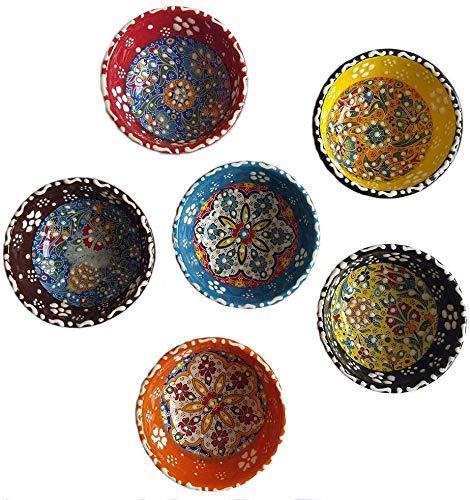"Tubibu Decorative Desing Turkish Ceramic Bowl Set of 6 - Handcrafted Pinch Multicolor Finger Small Serving Bowls (Deco, 3.15"")"