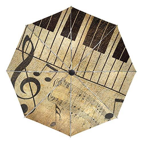 Kleiner Reiseschirm Winddicht Regen im Freien Sonne UV Auto Compact 3-Fach Regenschirmabdeckung - Musical Note Keyboard