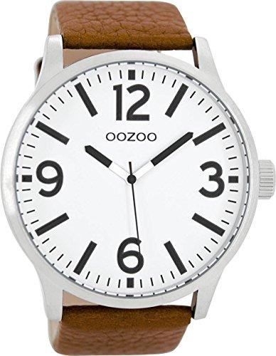 Oozoo Herrenuhr mit Lederband 50 MM Weiss/Braun C8570